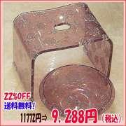 セットで買うとお買い得!【送料無料】バラ柄アクリルバスチェア&洗面器セット(パープルラメローズ)