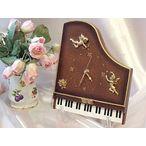 【送料無料】天使とバラのモチーフが素敵♪ピアノクロック【ギフト箱入り】:ブラウン×ゴールド